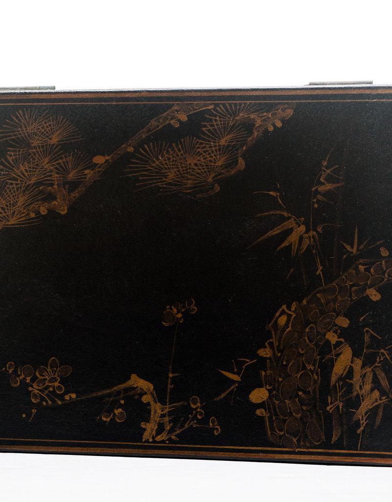 "Lawrence & Scott Leather Box 17Black Meridian Leather Box (17"")x11.5x5"