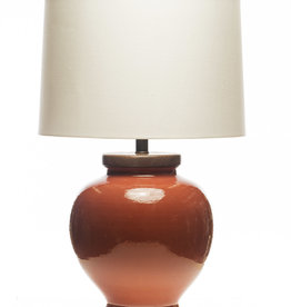 Lawrence & Scott Luca Porcelain Lamp in Living Coral (Walnut)