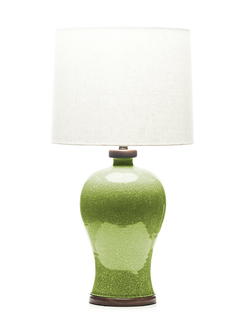 Lawrence & Scott Dashiell Table Lamp in Celadon Crackle with Walnut Base