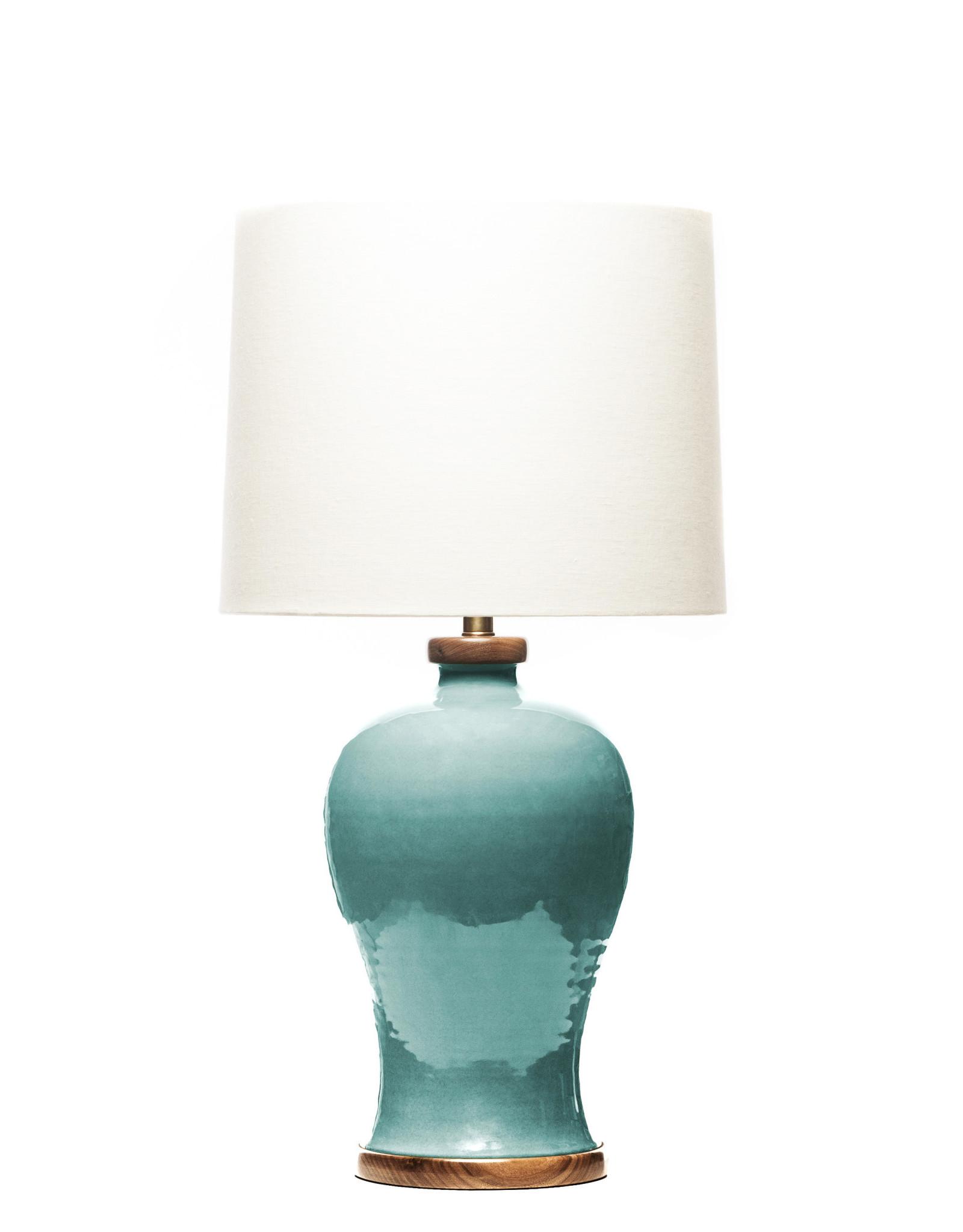 Lawrence & Scott Dashiell Table Lamp in Aquamarine with Walnut Base