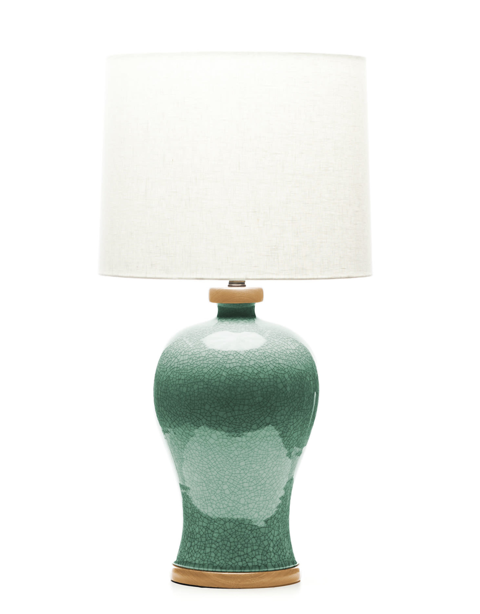 Lawrence & Scott Dashiell Table Lamp in Aquamarine Crackle with Oak Base