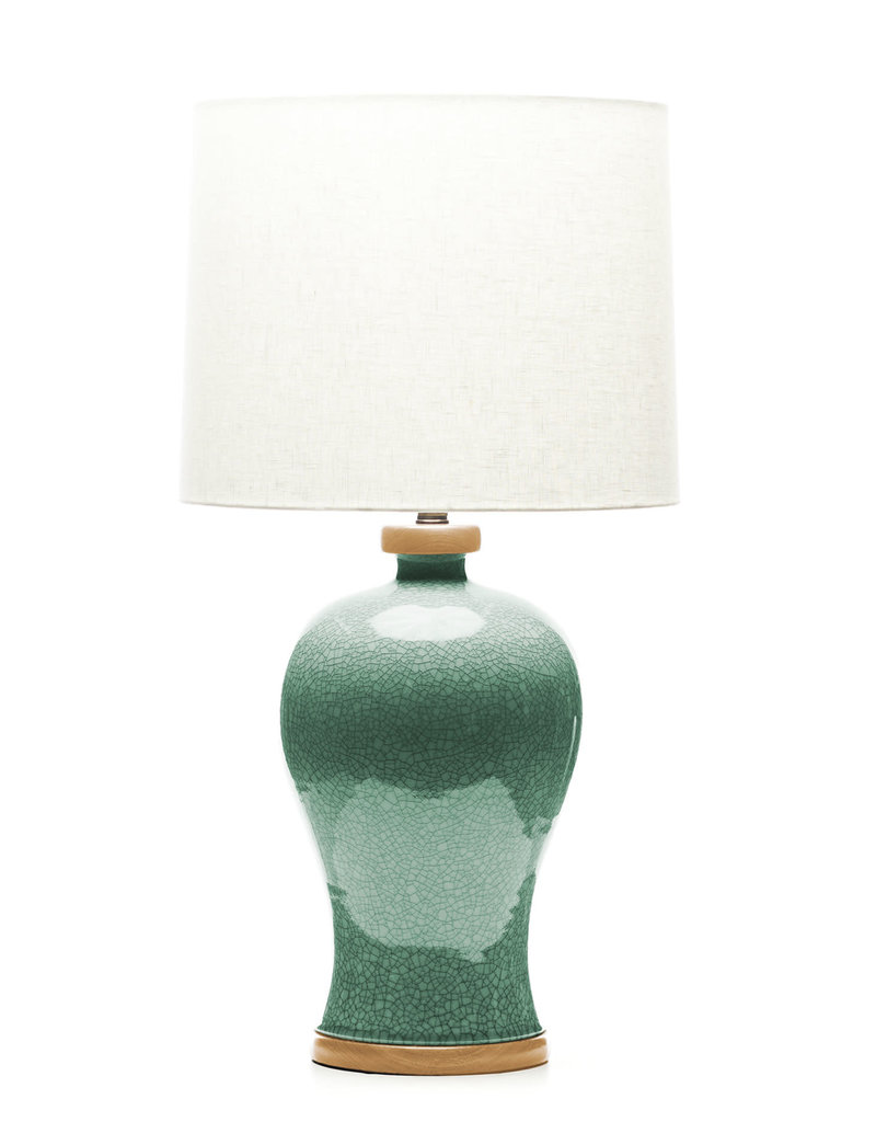 Lawrence & Scott Dashiell Table Lamp in Aquamarine Crackle (Oak)