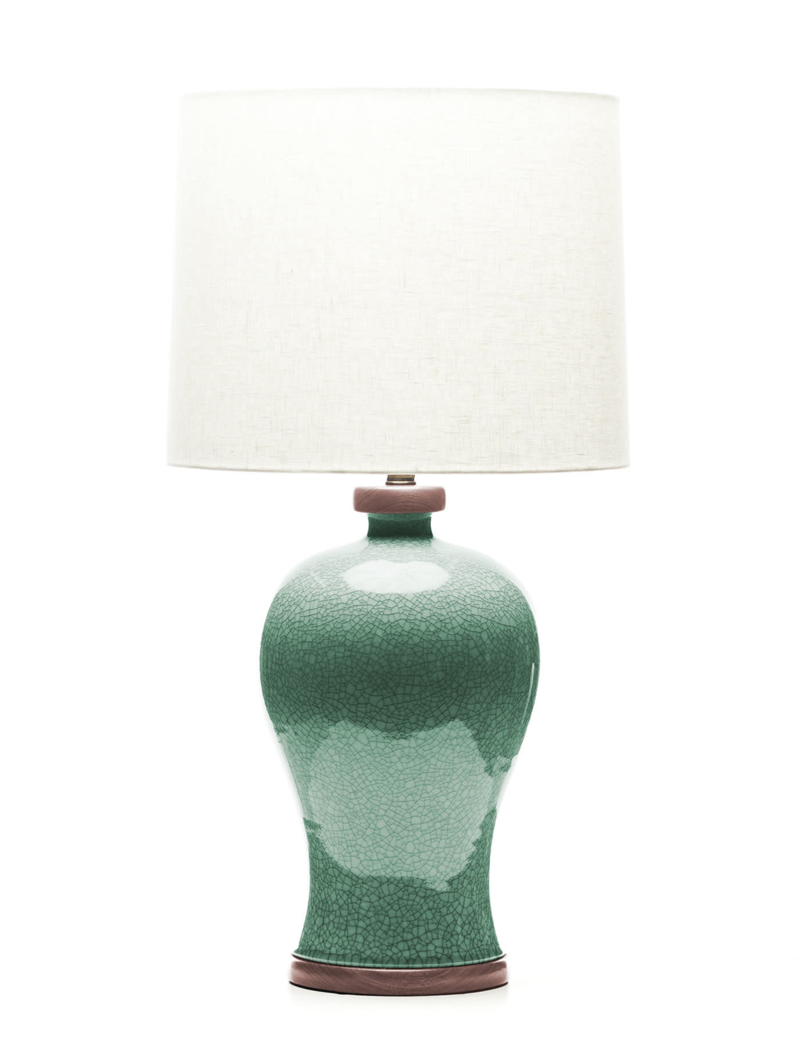Lawrence & Scott Dashiell Table Lamp in Aquamarine Crackle with Sapele Base