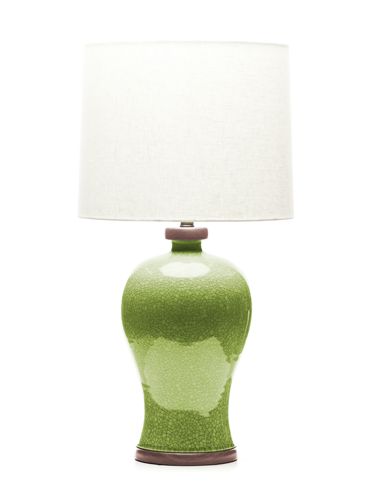 Lawrence & Scott Dashiell Table Lamp in Celadon Crackle with Sapele Base