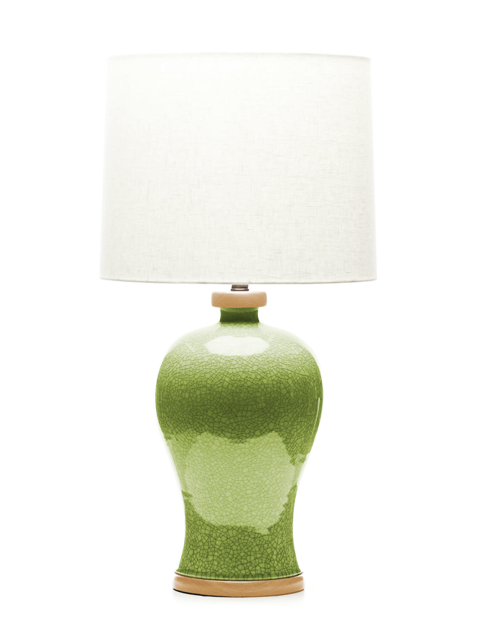 Lawrence & Scott Dashiell Table Lamp in Celadon Crackle with Oak Base