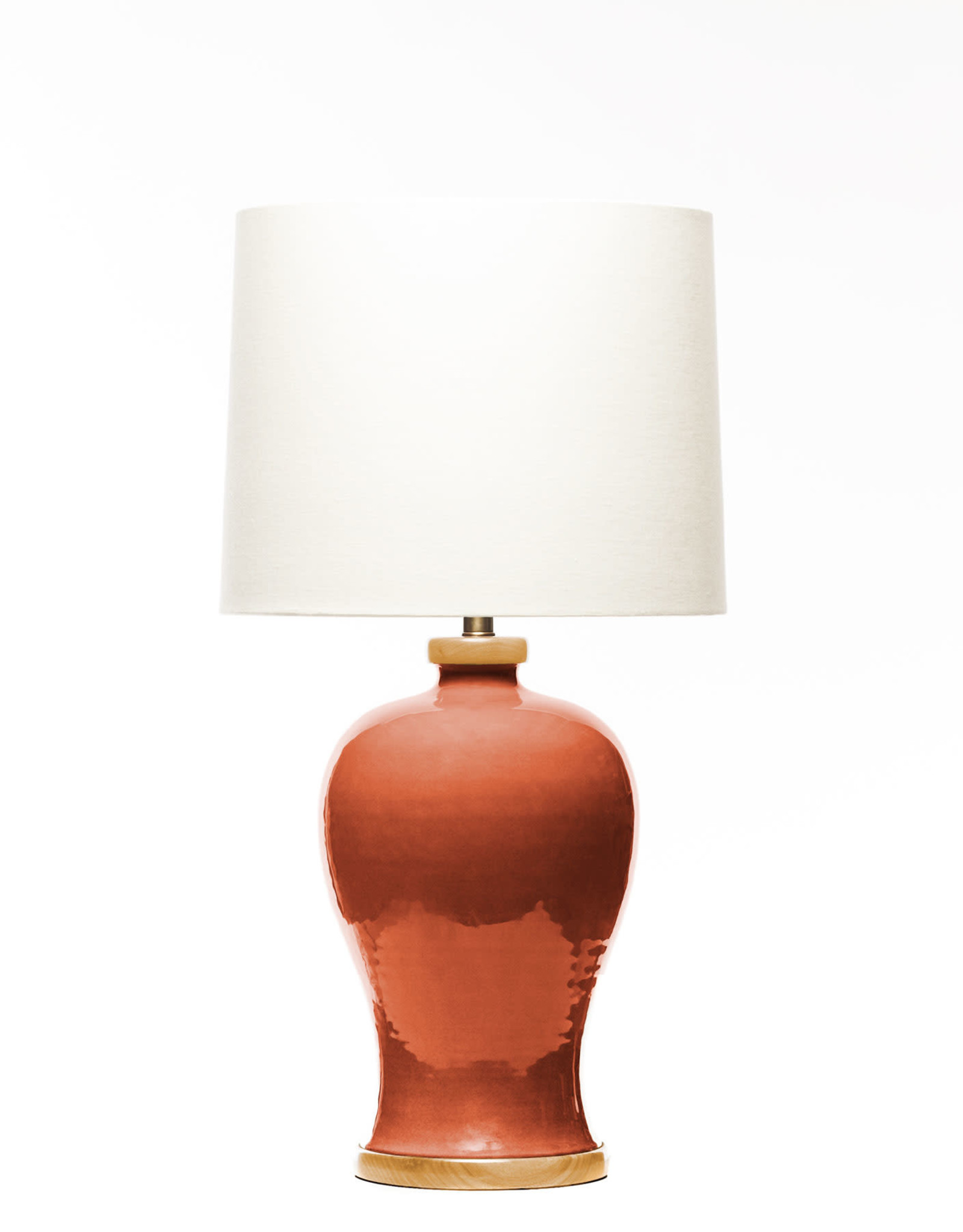 Lawrence & Scott Dashiell Table Lamp in Living Coral with Oak Base