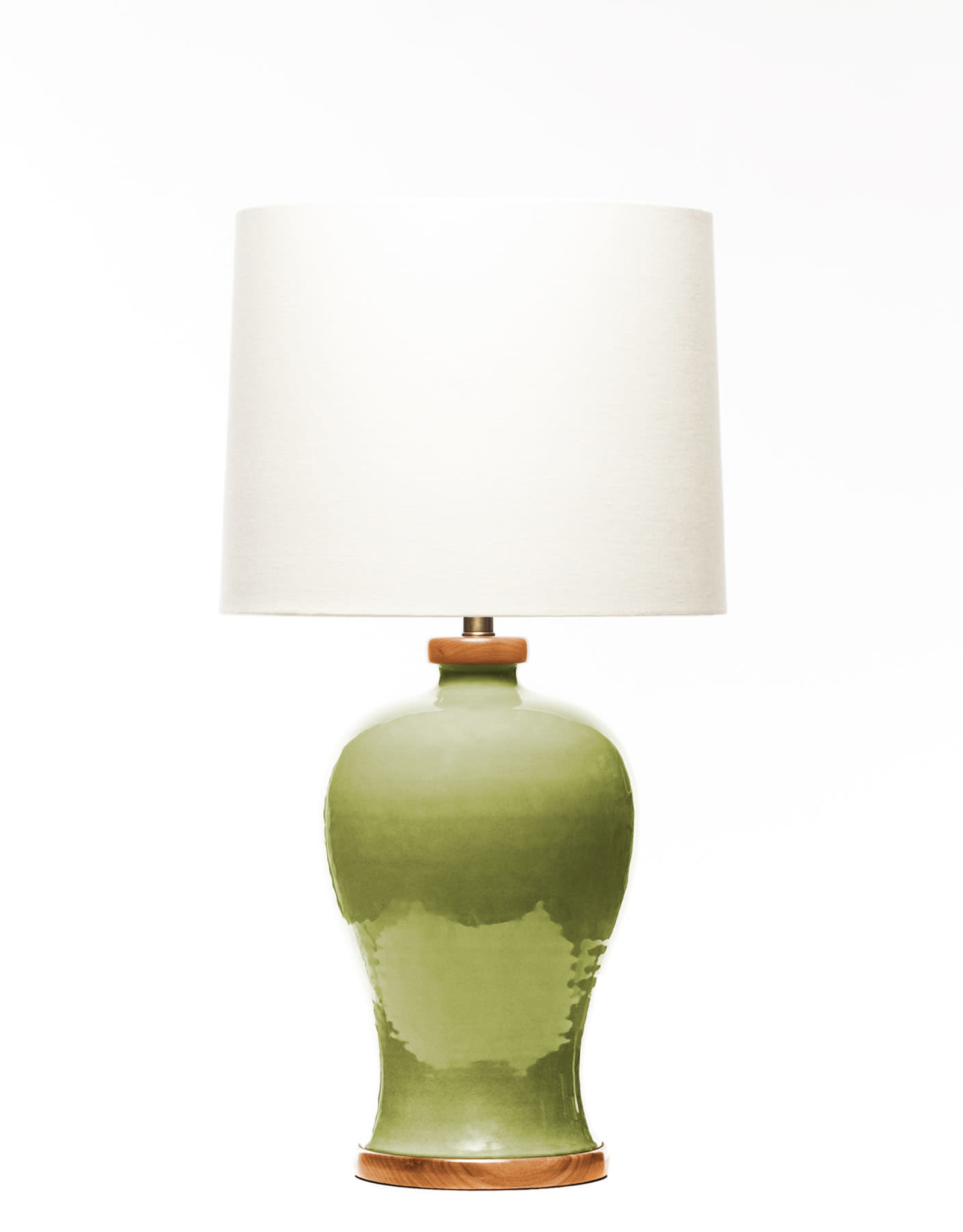 Lawrence & Scott Dashiell Table Lamp in Celadon with Sapele Base
