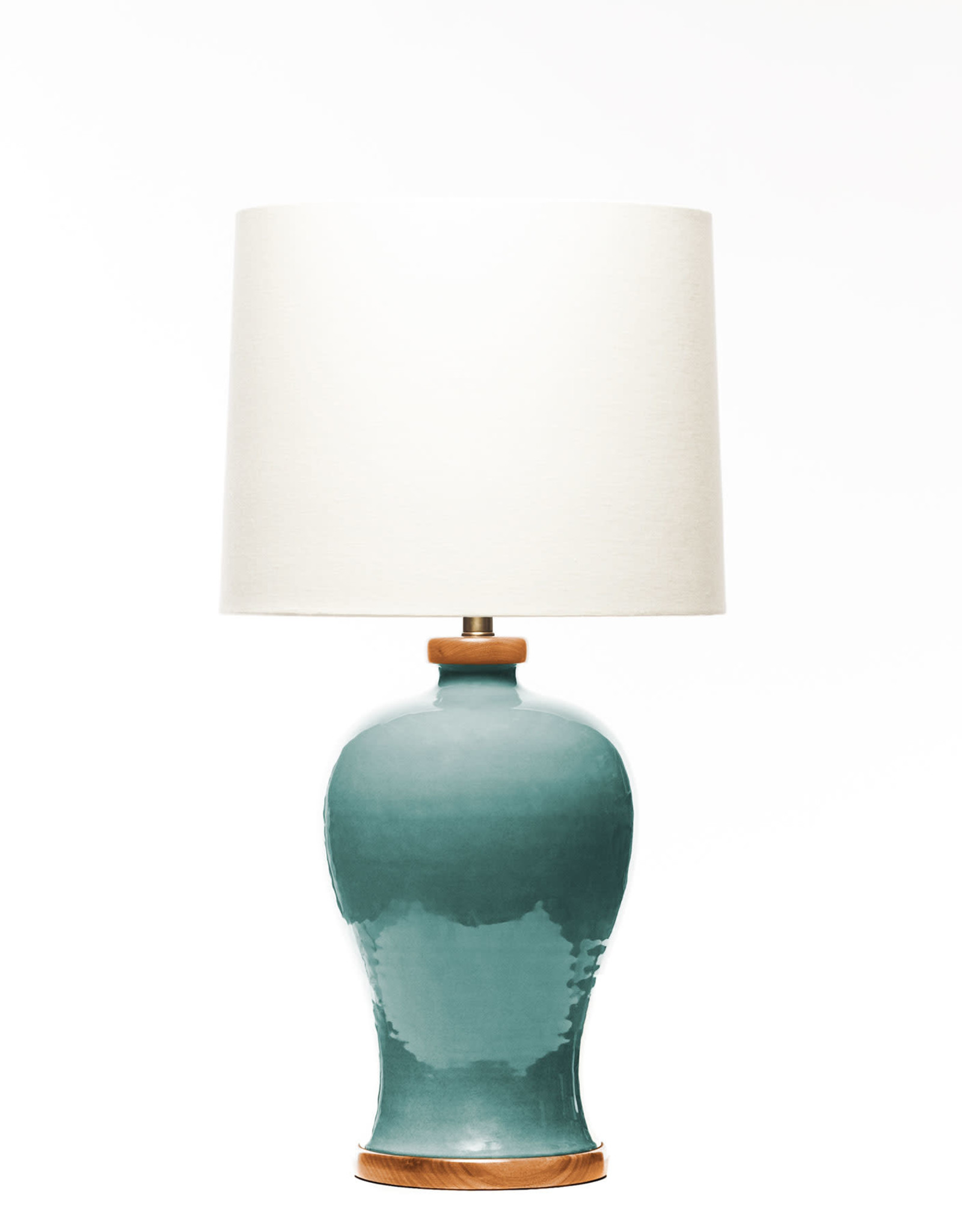 Lawrence & Scott Dashiell Table Lamp in Aquamarine with Sapele Base