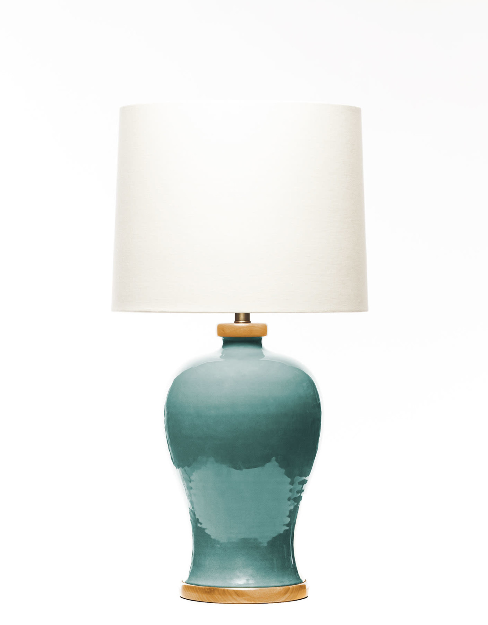 Lawrence & Scott Dashiell Table Lamp in Aquamarine with Oak Base