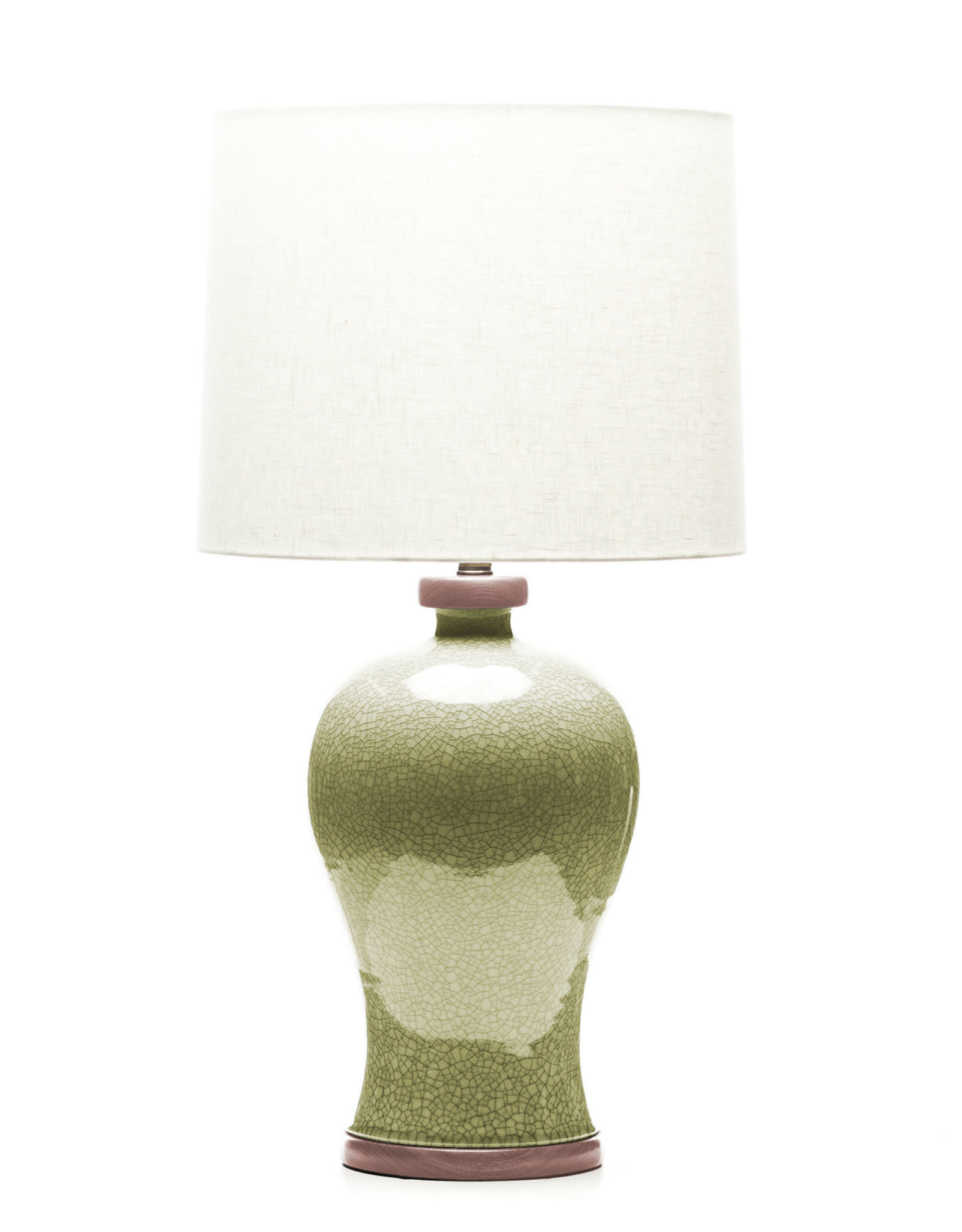 Lawrence & Scott Dashiell Table Lamp in Oyster Crackle with Sapele Base