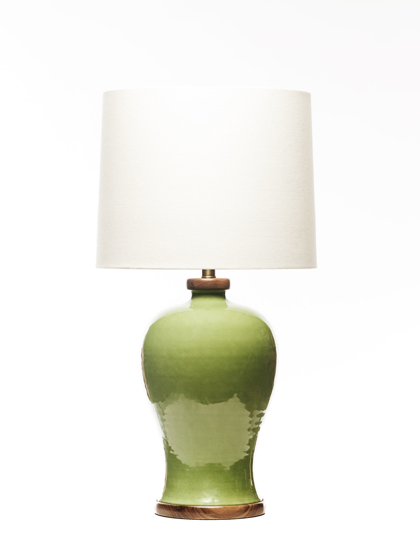 Lawrence & Scott Dashiell Table Lamp in Celadon with Walnut Base
