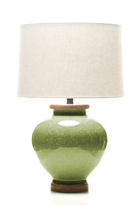 Lawrence & Scott Luca Porcelain Table Lamp in Celadon Crackle with Oak Base