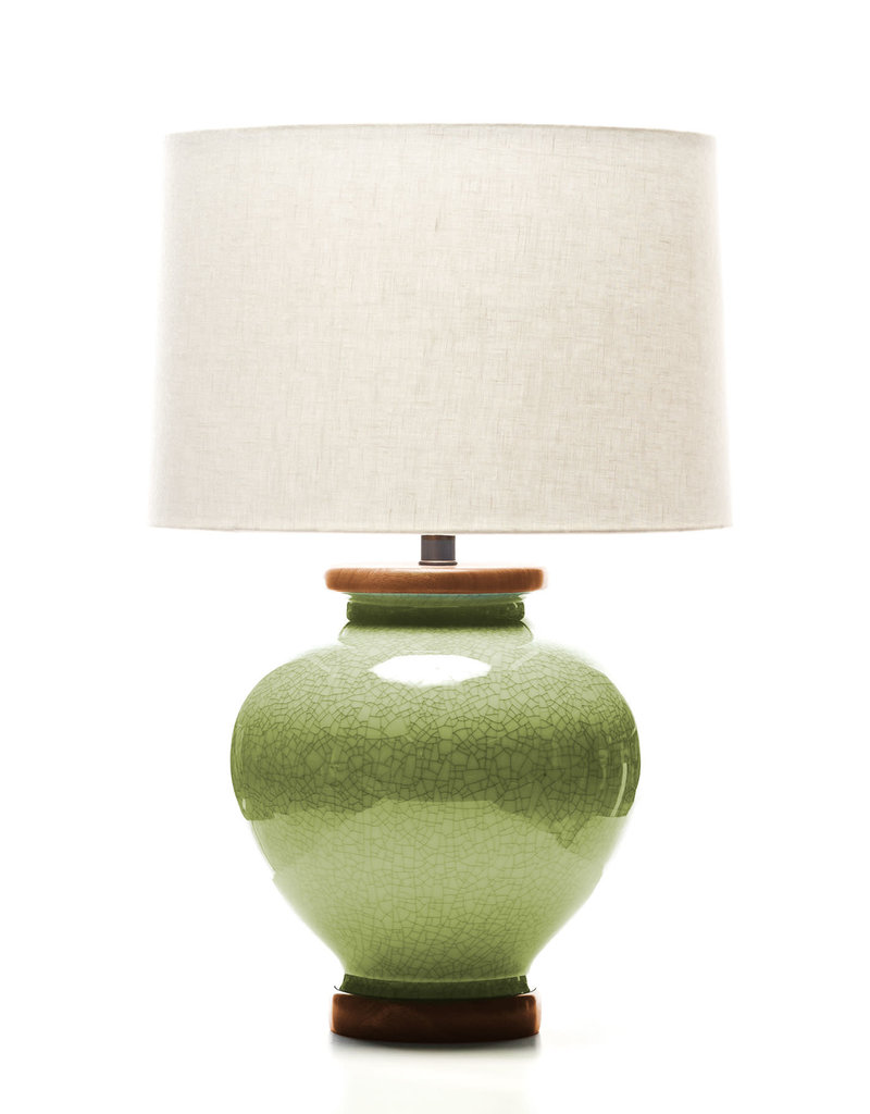 Lawrence & Scott Luca Porcelain Lamp in Celadon Crackle (Sapele)