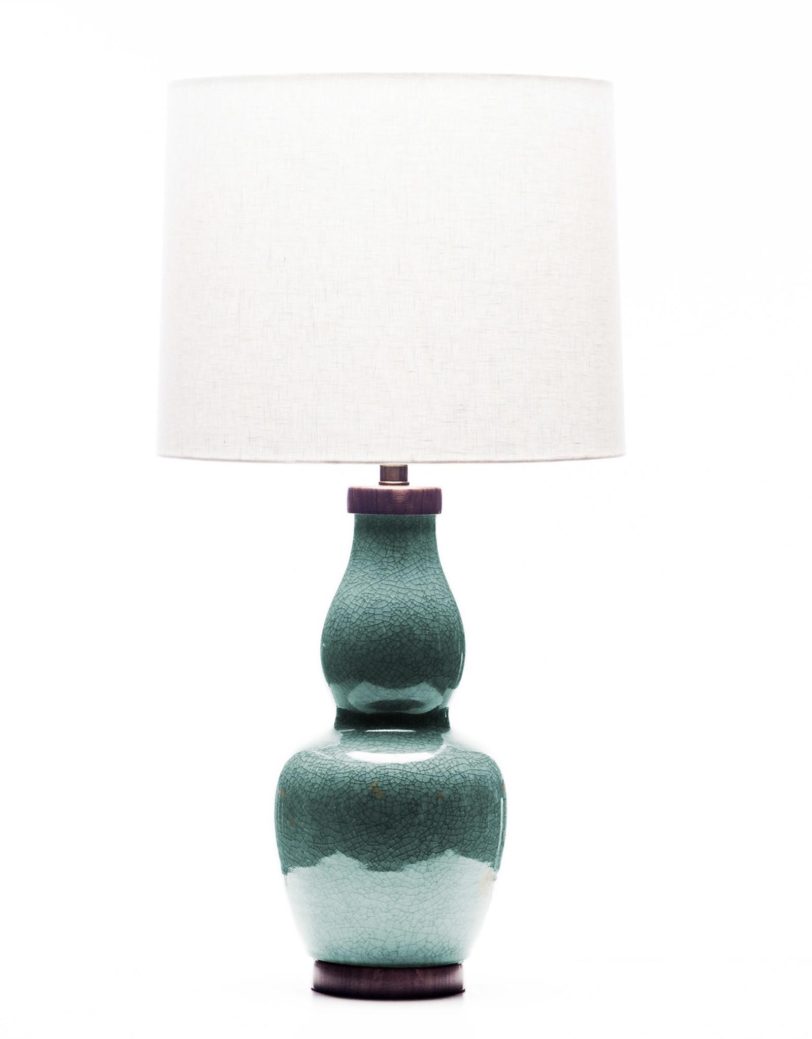 Lawrence & Scott Scarlett Porcelain Table Lamp in Aquamarine Crackle with Walnut Base