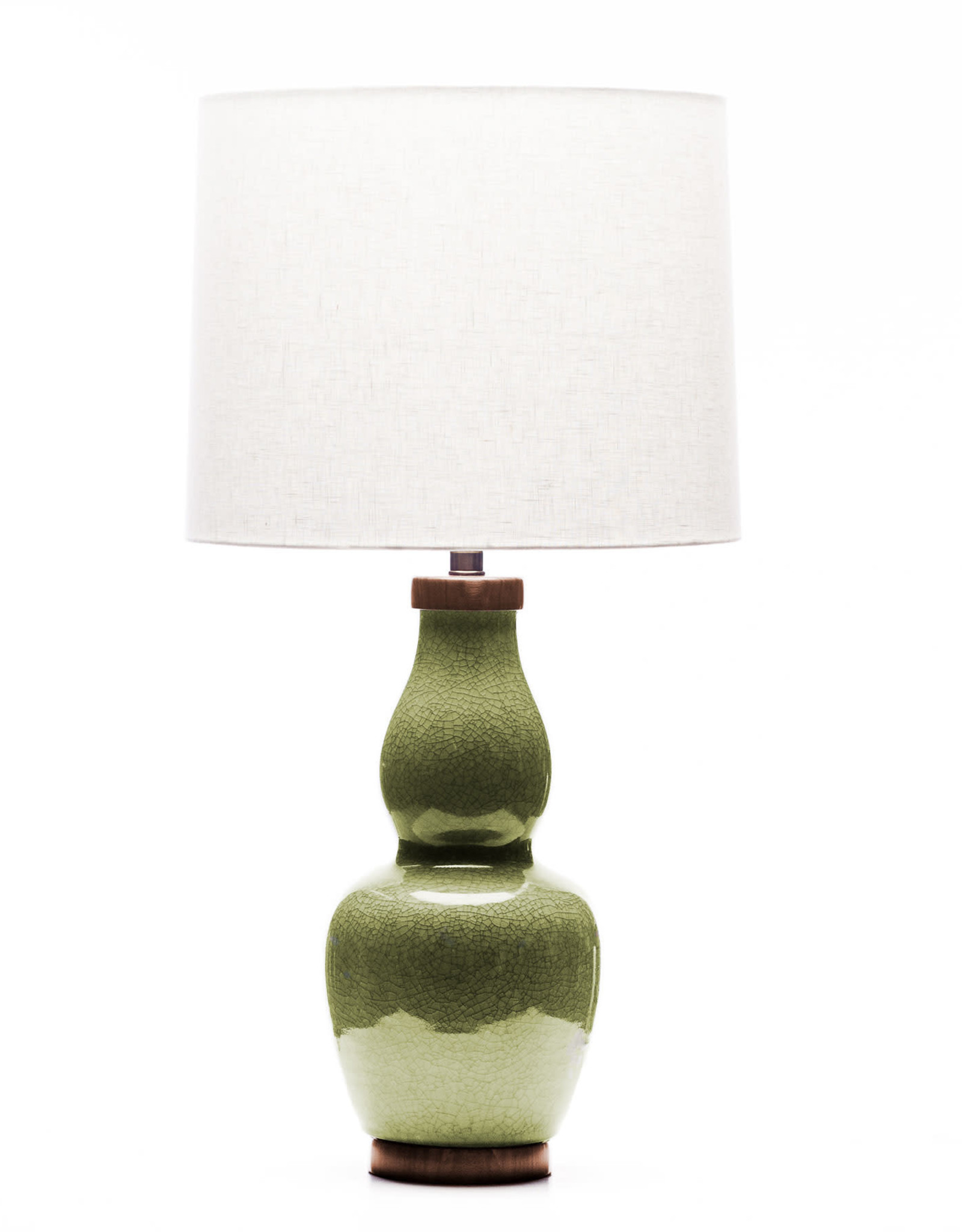 Lawrence & Scott Scarlett Porcelain Table Lamp in Celadon Crackle (Walnut)