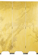 "Lawrence & Scott Double-Sided Leather Wisteria Scene 4 Panel Room Divider Screen in Mustard Yellow (72"" H)"