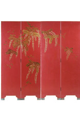 Lawrence & Scott Double-Sided Leather Wisteria Scene 4 Panel Room Divider Screen in Red