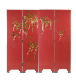 "Lawrence & Scott Double-Sided Leather Wisteria Scene 4 Panel Room Divider Screen in Red (72"" H)"