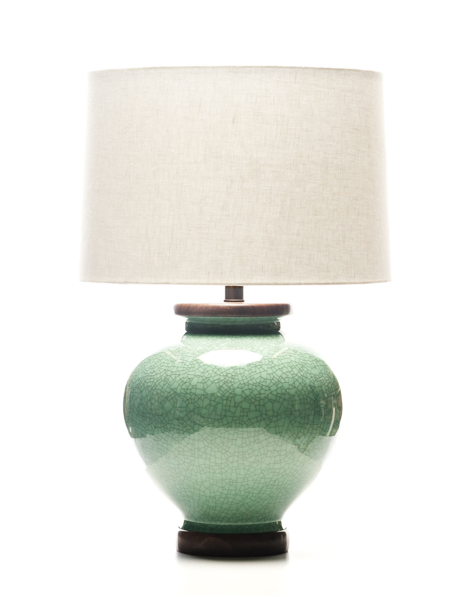 Lawrence & Scott Luca Porcelain Lamp in Aquamarine Crackle with Walnut Base