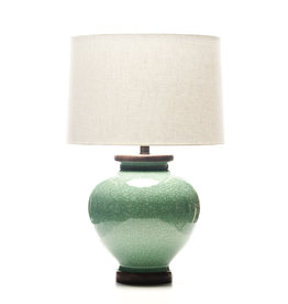 Lawrence & Scott Luca Porcelain Lamp in Aquamarine Crackle (Walnut)