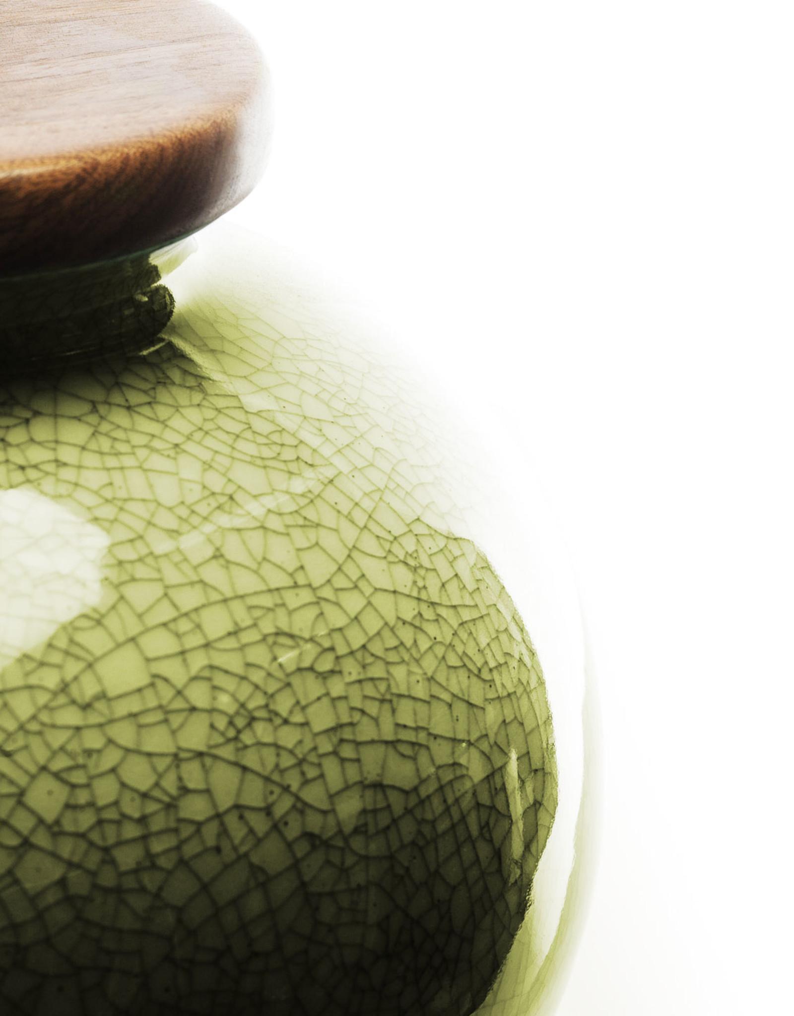 Lawrence & Scott Luca Porcelain Lamp in Celadon Crackle with Walnut Base