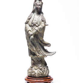Lawrence & Scott Verdigris Bronze Guan Yin With Stand