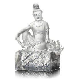 "LIULI Crystal Art Crystal Guanyin ""Content, A Flower Blooms"" (Limited Edition)"