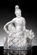 "LIULI Crystal Art Crystal Guanyin ""Content, A Flower Blooms"" Buddha Figurine (Limited Edition)"