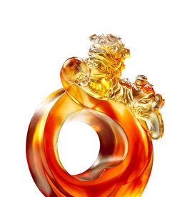 LIULI Crystal Art Crystal Mythical Foo Dog (Limited Edition) in Amber