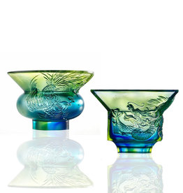 LIULI Crystal Art Crystal Sake Glass (Limited Edition), Set of 2, Blue/Green