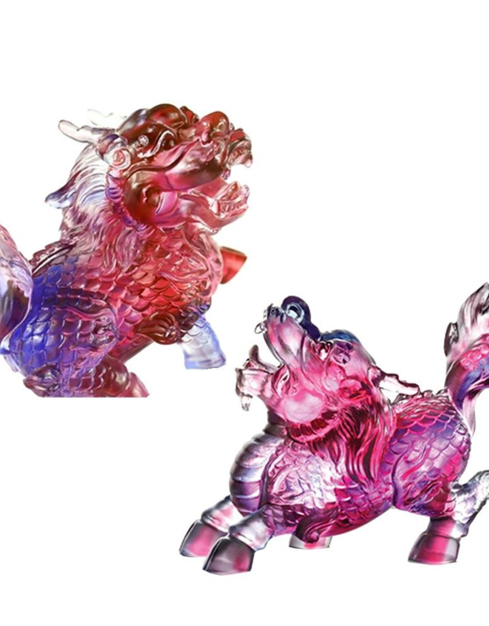 LIULI Crystal Art Crystal Qilin Feng Shui Guardians, Set of 2, Gold Red & Blue Clear  (Limited Edition)