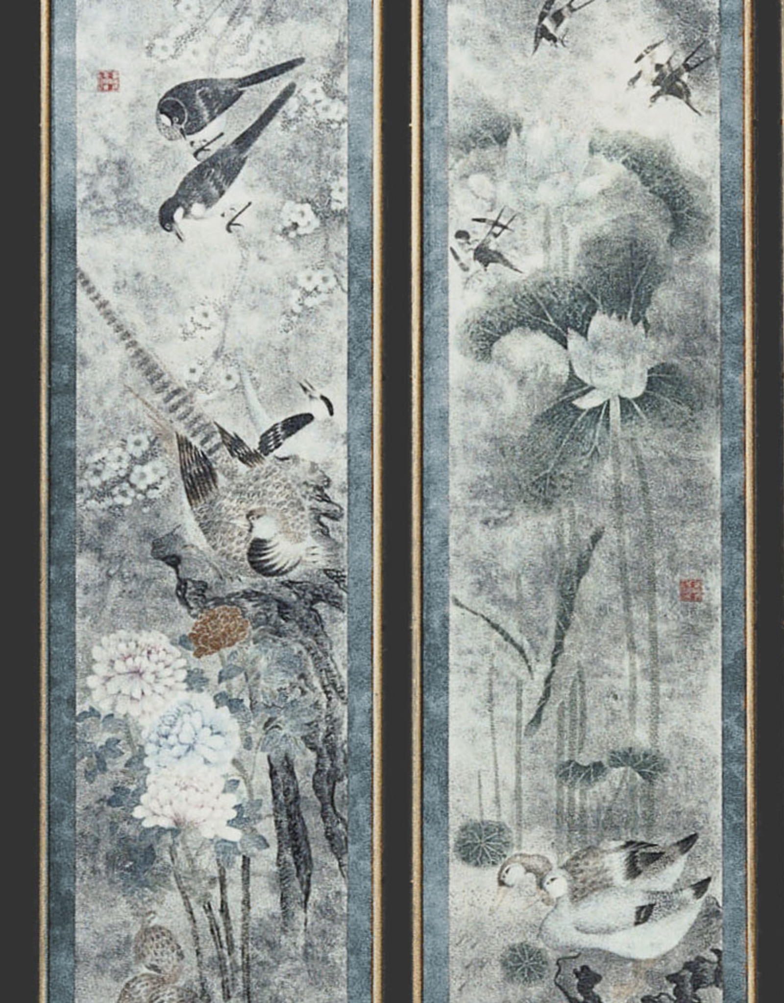 Lawrence & Scott 'Four Seasons'' with blue border Panel Set