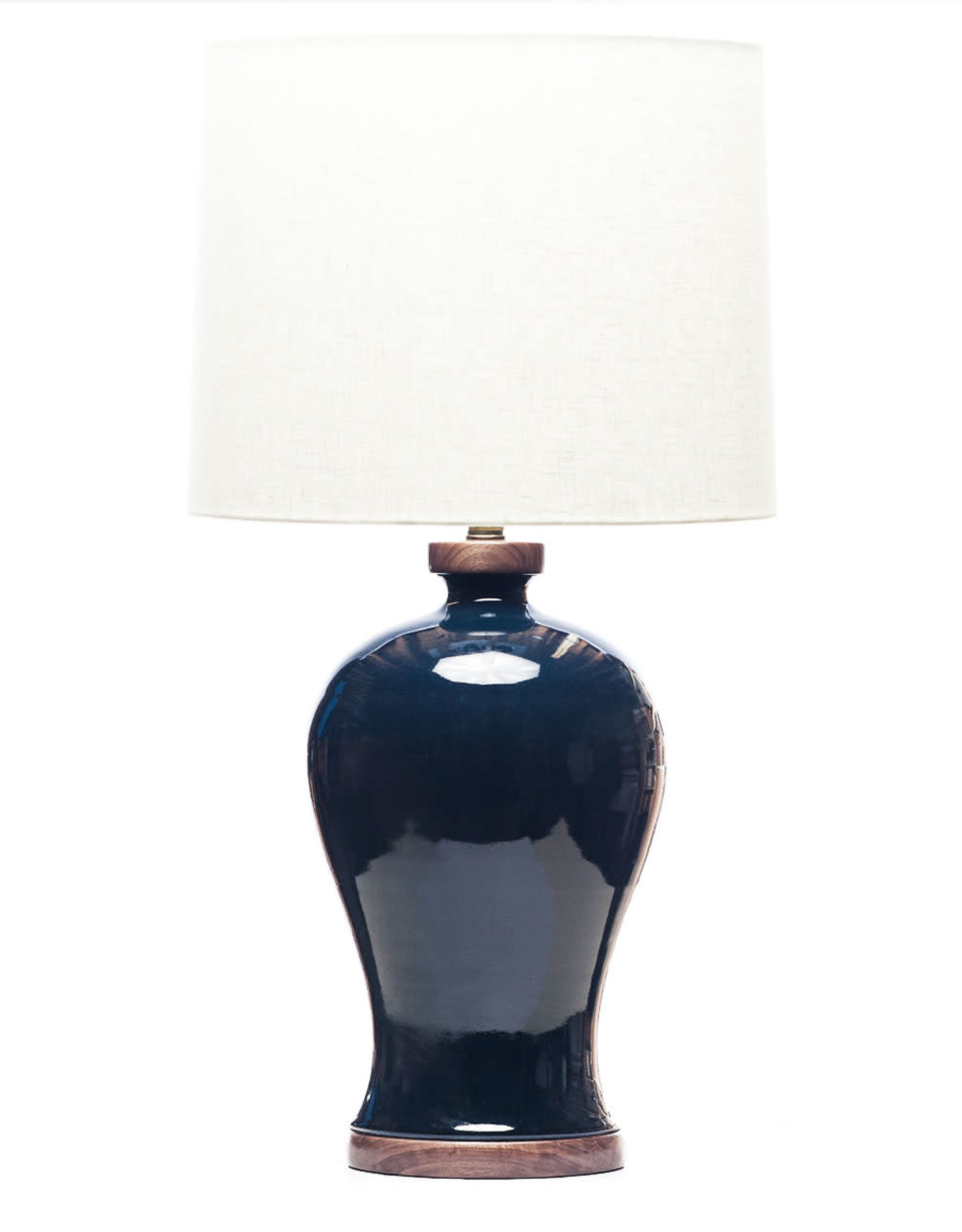 Lawrence & Scott Dashiell Table Lamp in Steel Blue Crackle with Walnut Base