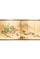 "Lawrence & Scott SOLD ""Samurai Hunting"" Scene 6-Panel Screen"