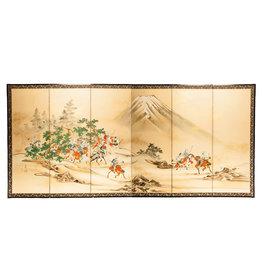 "Lawrence & Scott SOLD ""Samurai Hunting"" Scene 6-Panel Screen"