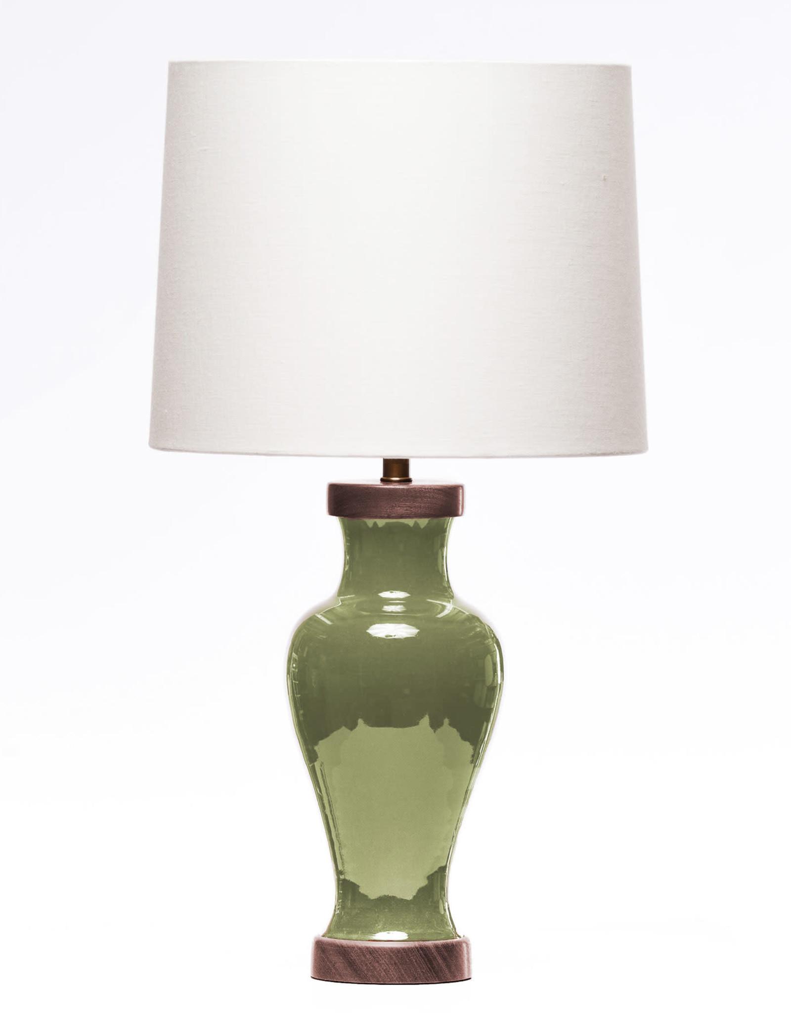 Lawrence & Scott Gabrielle Baluster Porcelain Lamp in Celadon (Walnut)