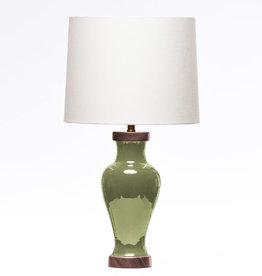 Lawrence & Scott Gabrielle Baluster Porcelain Lamp in Celadon (Walnut)
