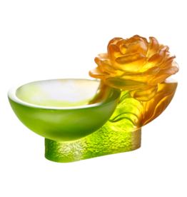 "LIULI Crystal Art Crystal Camellia Bloom ""Destined Harmony"" Limited Edition in Amber & Green"
