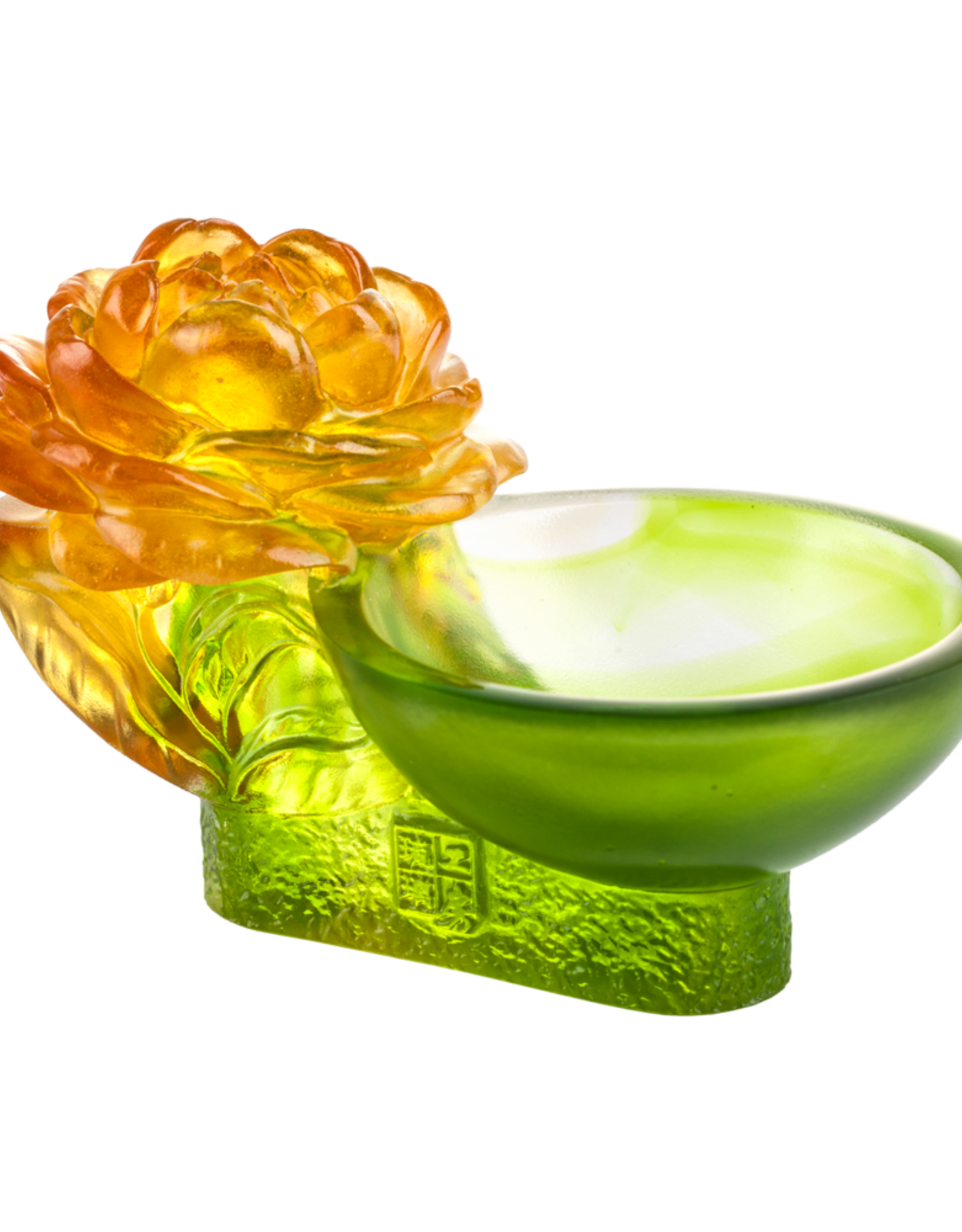 """LIULI Crystal Art Crystal Camellia Bloom """"Destined Harmony"""" Limited Edition in Amber & Green"""