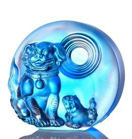 "LIULI Crystal Art Crystal ""Generations of Fortune"" Dog Figurine in Sky Blue"