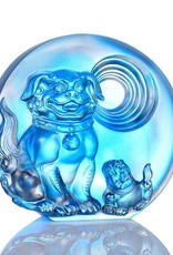 "LIULI Crystal Art Crystal ""Generations of Fortune"" Dog Figurine in Sky Blue"