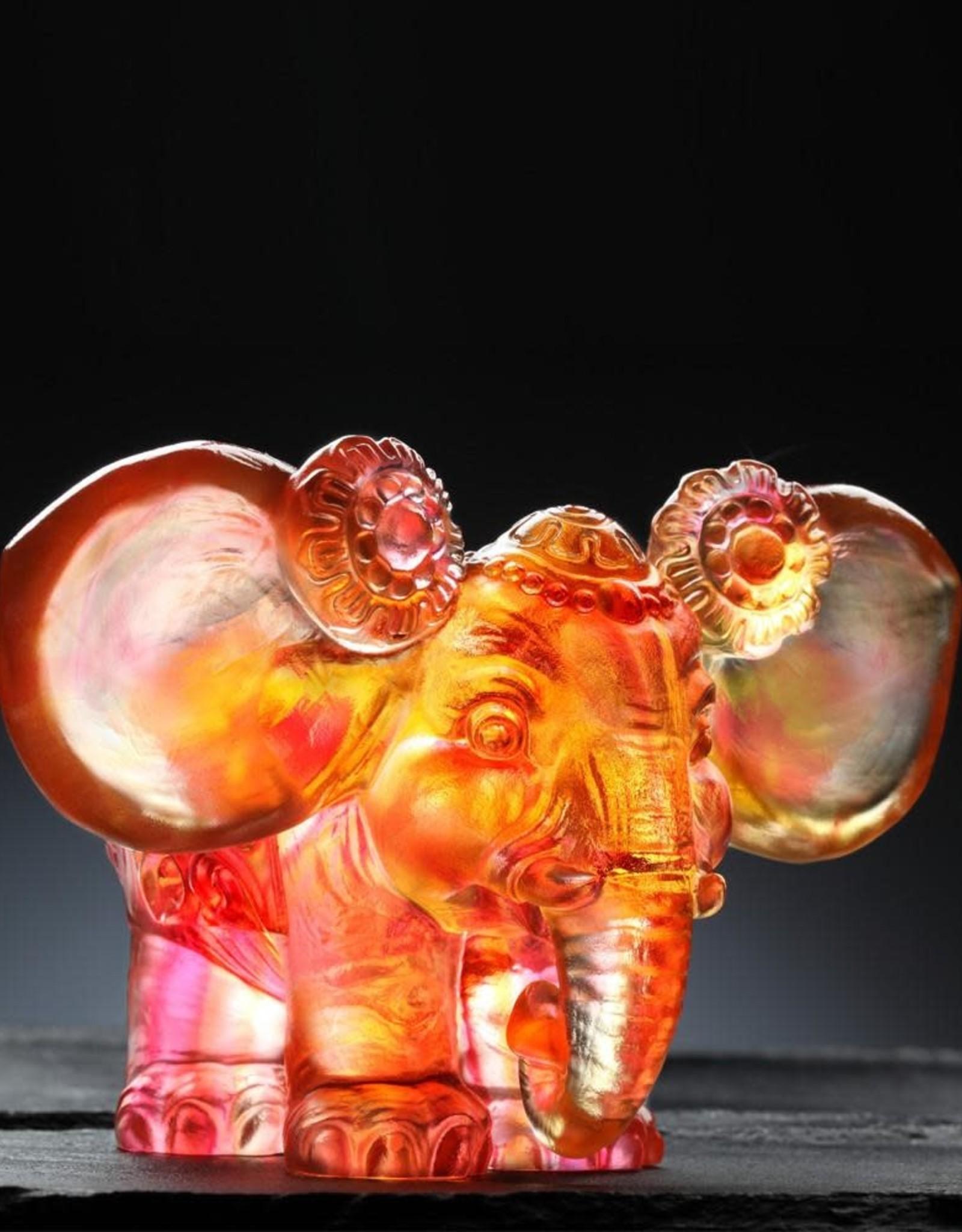 LIULI Crystal Art Crystal Elephant Figurine in Amber & Gold Red