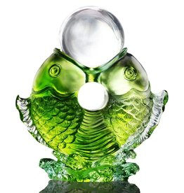 "LIULI Crystal Art Crystal Twin Fish ""Turning of Ruyi"" Feng Shui Sculpture in Green"