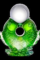 "LIULI Crystal Art Crystal Twin Fish ""Turning of Ruyi"" Feng Shui Sculpture in Green"