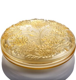 LIULI Crystal Art Crystal Chrysanthemum, Lunar Jewelry Box in Amber