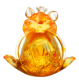 "LIULI Crystal Art Crystal Mouse ""Unshakable"" (Limited Edition) Zodiac Sculpture (Dark Amber / Light Amber)"