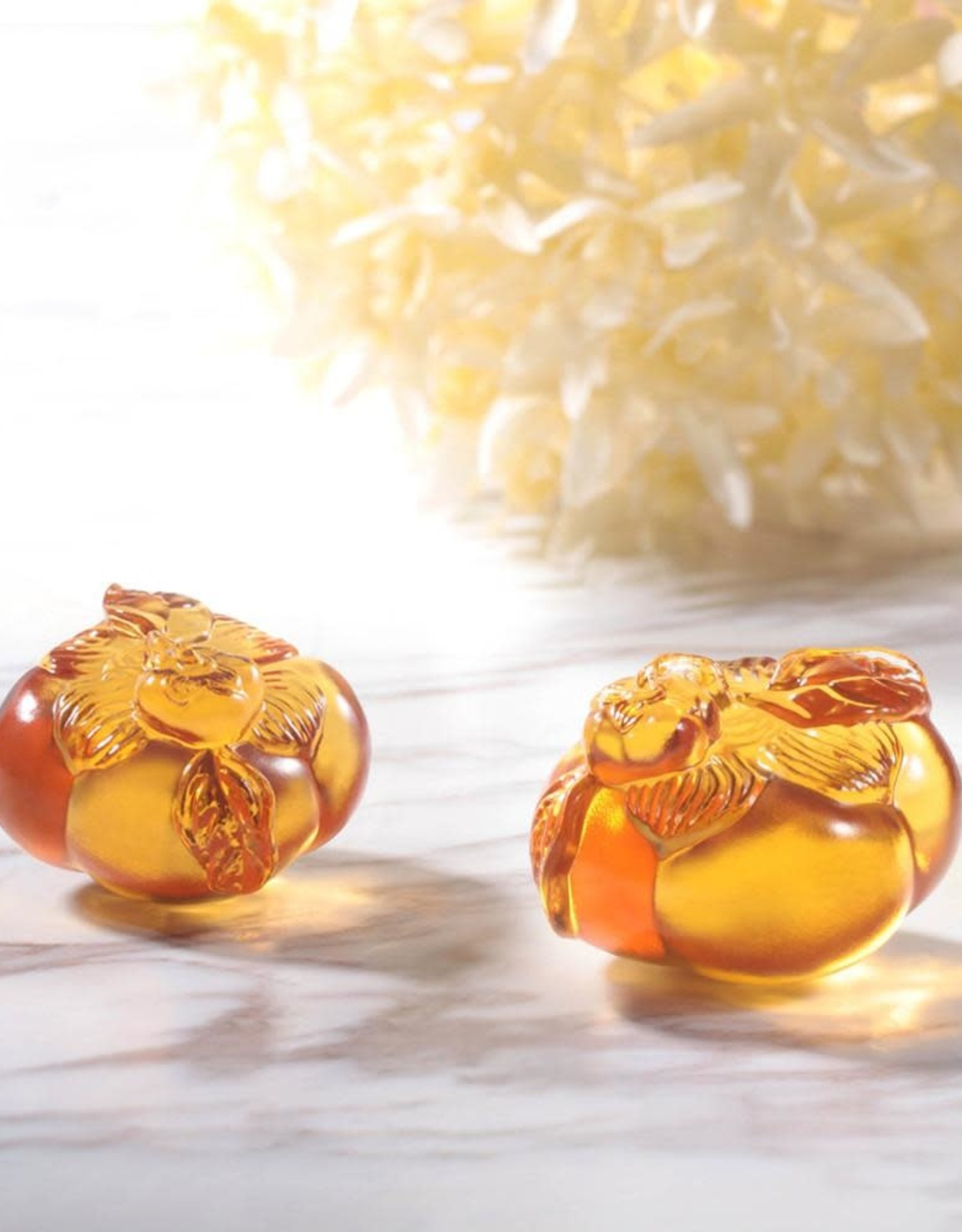 "LIULI Crystal Art Crystal Persimmon Paperweight ""Good Things Come in Pairs"" Set of 2"