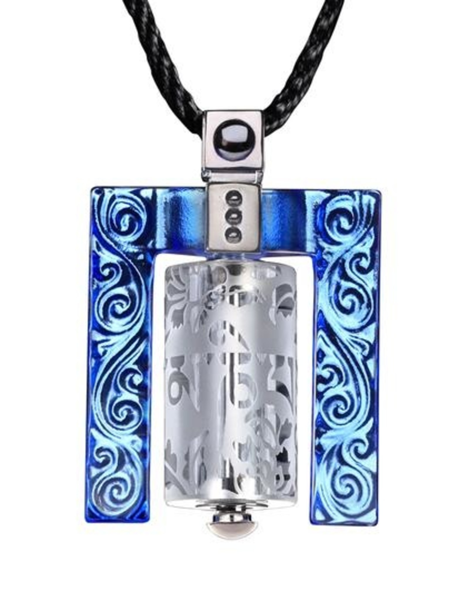 LIULI Crystal Art Crystal Prayer Wheel Pendant Necklace, Eternal Cycle of Compassion (Framed) in Blue