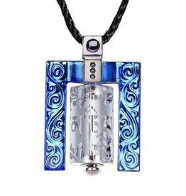 LIULI Crystal Art Crystal Prayer Wheel Pendant Necklace (Framed) in Blue