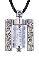 LIULI Crystal Art Crystal Prayer Wheel Pendant Necklace, Eternal Cycle of Compassion (Framed) in Powder White